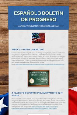 español 3 boletín de progreso