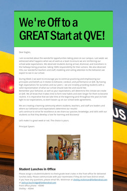We're Off to a GREAT Start at QVE!