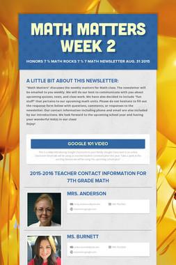 Math Matters Week 2