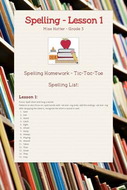 Spelling - Lesson 1
