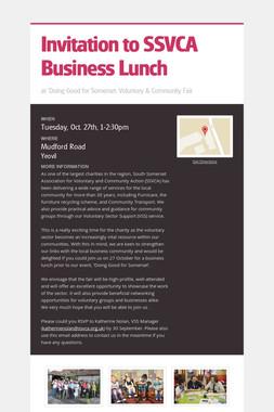 Invitation to SSVCA Business Lunch