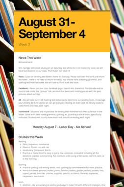 August 31- September 4