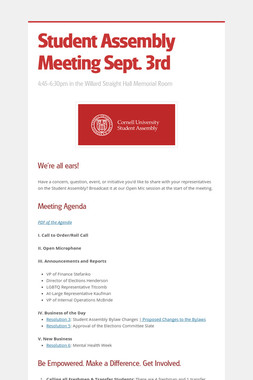 Student Assembly Meeting Sept. 3rd