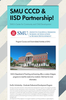 SMU CCCD & IISD Partnership!