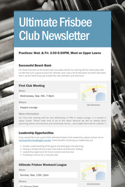 Ultimate Frisbee Club Newsletter