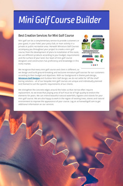 Mini Golf Course Builder