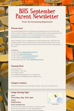 BHS September Parent Newsletter