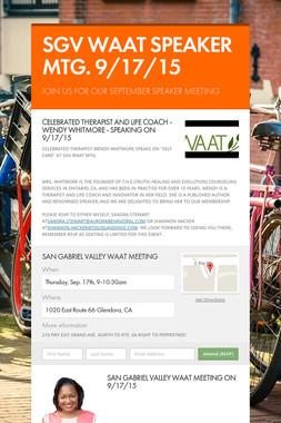 SGV WAAT SPEAKER MTG. 9/17/15