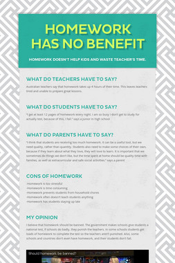 Homework Has No Benefit