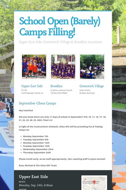 School Open (Barely) Camps Filling!
