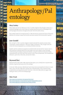 Anthrapology/Palentology
