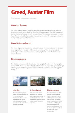 Greed, Avatar Film