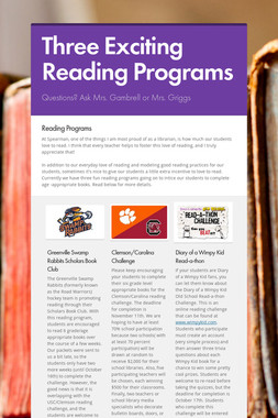 Three Exciting Reading Programs