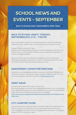 School News and Events - September