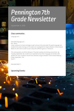 Pennington 7th Grade Newsletter