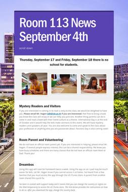 Room 113 News September 4th
