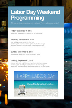 Labor Day Weekend Programming