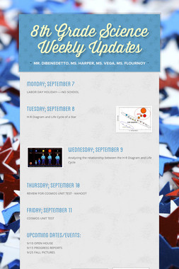8th Grade Science Weekly Updates