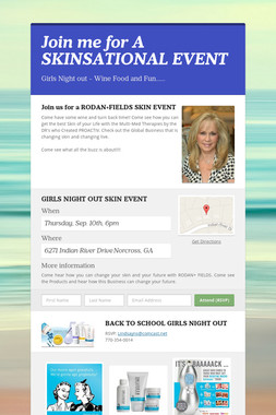 Join me for A SKINSATIONAL EVENT