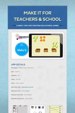 Make It for Teachers & School