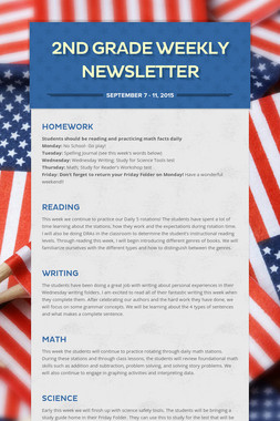 2nd Grade Weekly Newsletter