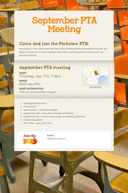 September PTA Meeting