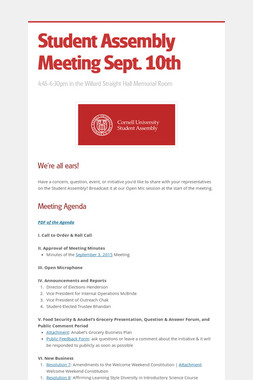 Student Assembly Meeting Sept. 10th
