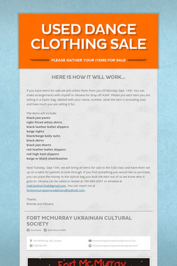 Used Dance Clothing Sale