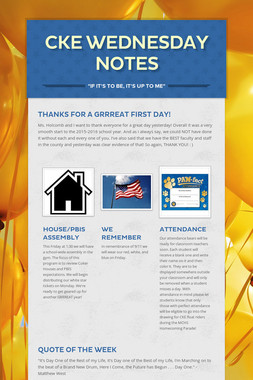 CKE Wednesday Notes