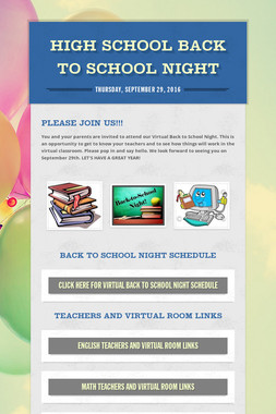 High School Back to School Night