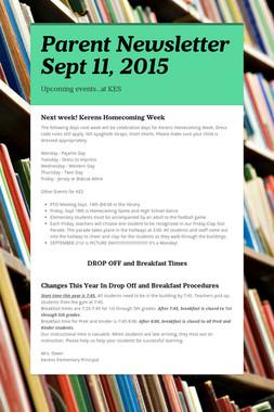Parent Newsletter Sept 11, 2015