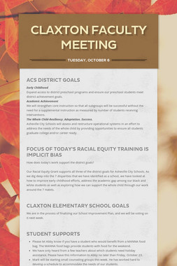 Claxton Faculty Meeting