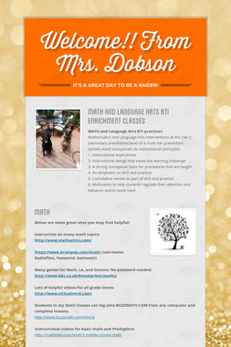 Welcome!!  From Mrs. Dobson