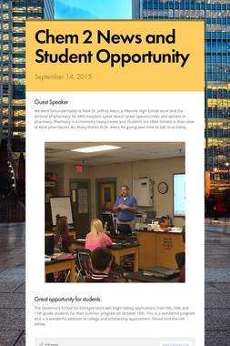 Chem 2 News and Student Opportunity