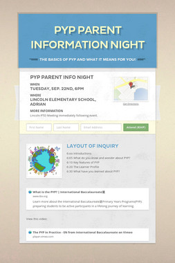 PYP Parent Information Night