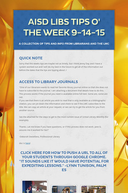 AISD Libs Tips O' the Week 9-14-15