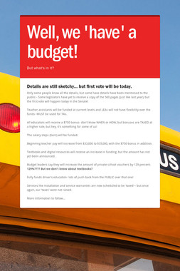Well, we 'have' a budget!