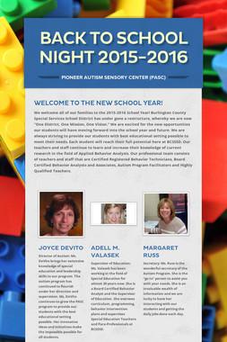 Back to School Night 2015-2016