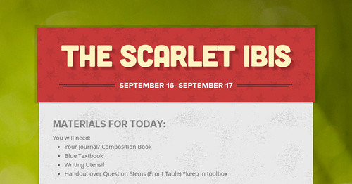 The Scarlet Ibis Smore Newsletters