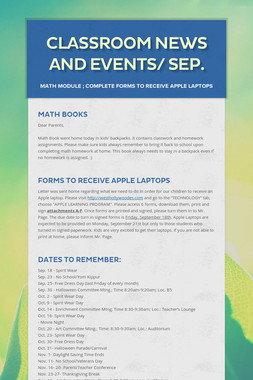 Classroom News and Events/ Sep.