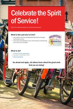 Celebrate the Spirit of Service!