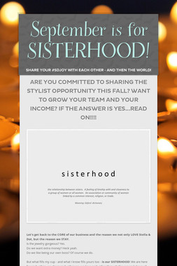 September is for SISTERHOOD!