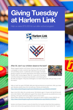 Giving Tuesday at Harlem Link