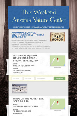 This Weekend Ansonia Nature Center