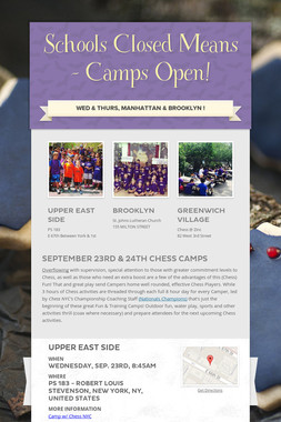Schools Closed Means - Camps Open!