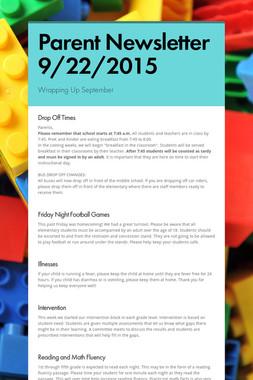 Parent Newsletter 9/22/2015