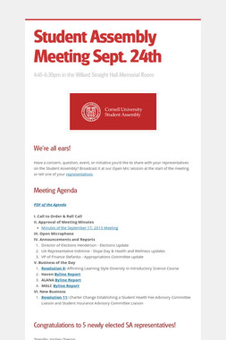 Student Assembly Meeting Sept. 24th