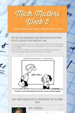 Math Matters Week 5
