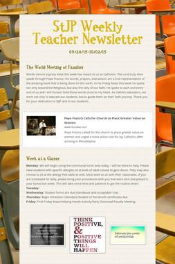 StJP Weekly Teacher Newsletter