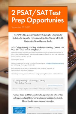 2 PSAT/SAT Test Prep Opportunies